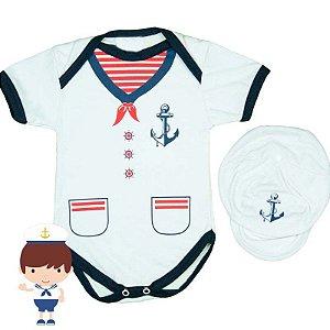 Kit Body Bebê Luxo Marinheiro com Boina