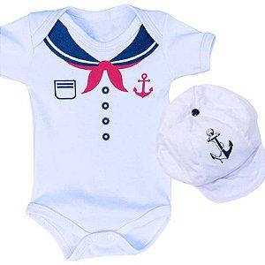 Kit Body Bebê Marinheiro Branco com Boina