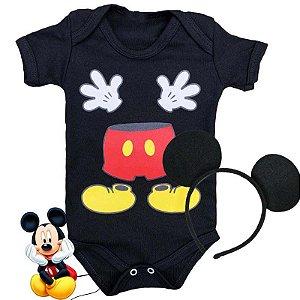 Kit Body Bebê Mickey Maozinha com Tiara Orelhinhas