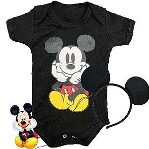 Kit Body Bebê Mickey Fofinho com Tiara Orelhinhas