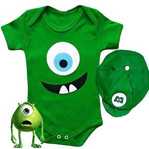Body Bebê Monstros SA Mike com Boina