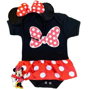 Kit Body Bebê Minnie com Tiara Orelhinhas Laço