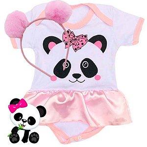 Kit Body Bebê Vestido Bichinhos Panda com Tiara Pompom Rosa