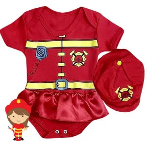Kit Body Bebê Vestido Bombeira com Boina