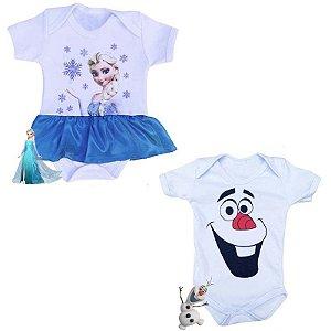 Kit Body Bebê Gêmeos Frozen Elsa & Olaf