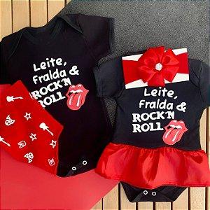 Kit Body Bebê Gêmeos Leite, Fralda & Rock`n Roll