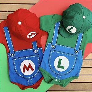 Kit Body Bebê Gêmeos Mario Bros. & Luigi