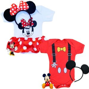 Kit Body Bebê Gêmeos Mickey e Minnie