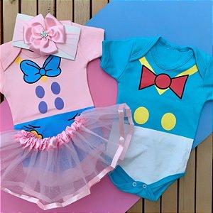 Kit Body Bebê Gêmeos Pato Donald & Margarida