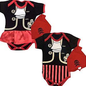 Kit Body Bebê Gêmeos Pirata