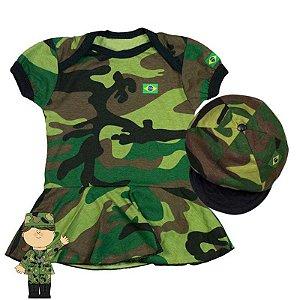 Kit Body Vestido Bebê Luxo Camuflado Exército com Boina