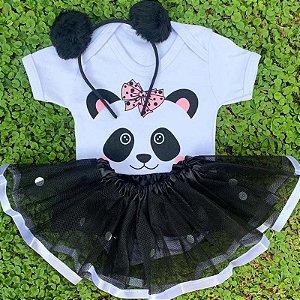 Kit Body Bebê Luxo Tule Panda com Tiara Pompom Preta