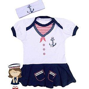 Kit Body Vestido Bebê Luxo Marinheira com Faixa de Cabelo