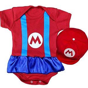 Kit Body Vestido Bebê Mario Bros. Menina com Boina