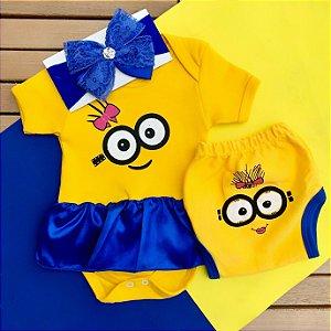 Kit Body Vestido Bebê Minions com Tapa Fralda e Faixa de Cabelo