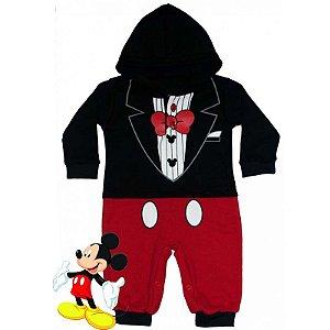 Macacão Bebê Suedine com Capuz Mickey