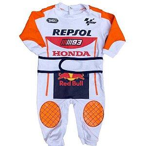 Macacão Bebê Suedine Moto Marc Marquez Gp Repsol Honda