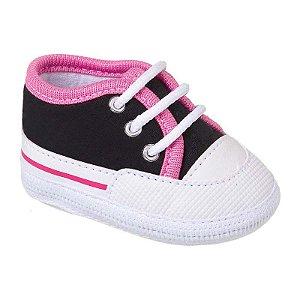 Tênis Bebê Basic Preto e Pink