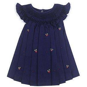 Vestido Casinha de Abelha Bordado Azul Marinho