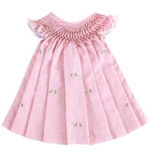 Vestido Casinha de Abelha Bordado Rosa