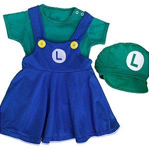 Jardineira Vestido Bebê Luigi Menina com Boina