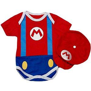 Kit Body Bebê Mario Bros com Boina