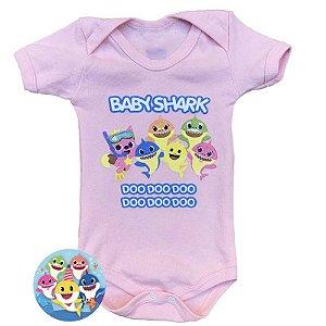 Body Bebê Baby Shark Rosa