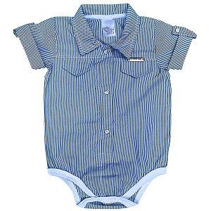 Body Bebê Camisa Social Listrada Azul