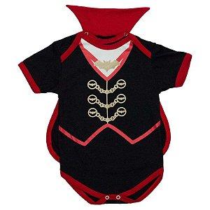Body Bebê Luxo Haloween Conde Drácula com Capinha