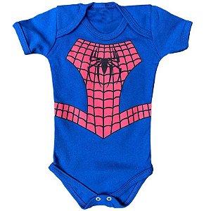 Body Bebê Homem Aranha Azul