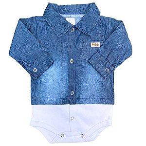 Body Manga longa Bebê Jeans Azul
