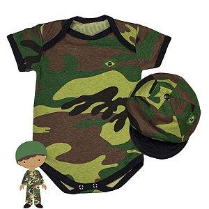 Kit Body Bebê Luxo Camuflado Exército com Boina
