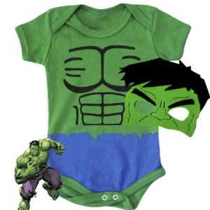Kit Body Bebê O Incrivel Hulk com Máscara