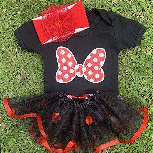Kit Body Bebê Luxo Tule Minnie Laço