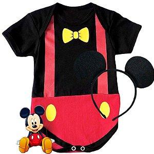 Kit Body Bebê Mickey Gravatinha com Tiara Orelhinhas