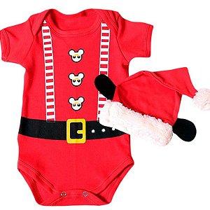 Body Bebê Natal Luxo Mickey Noel com Gorro Orelhinhas