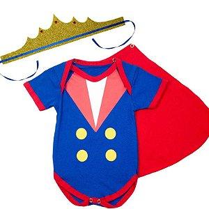 Body Bebê Luxo Pequeno Principe com Capinha e Coroa Glitter