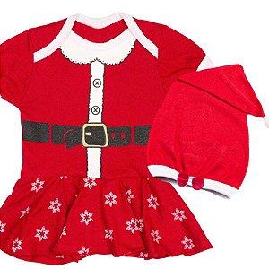 Body Vestido Bebê Luxo Natal Mamãe Noel com Gorro Laço