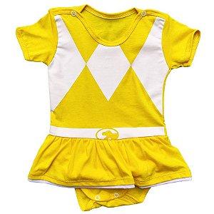 Body Vestido Bebê Luxo Power Rangers Amarelo