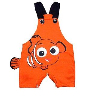 Jardineira Regata Bebê Procurando Nemo com Cauda