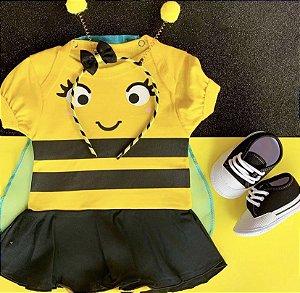 Kit Body Bebê Abelhinha Capinha com Tiara de Anteninhas e Tênis Basic Preto