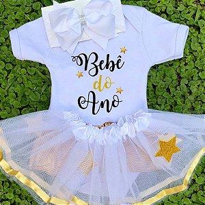 Kit Body Bebê Luxo Tule Ano Novo