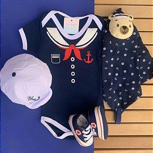 Kit Body Bebê Marinheiro com Boina, Naninha e Tênis Azul Marinho