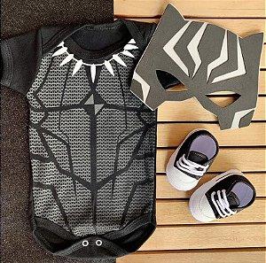Kit Body Bebê Pantera Negra com Máscara e Tênis Preto
