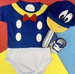 Kit Body Bebê Pato Donald com Boina e Tênis Azul Jeans