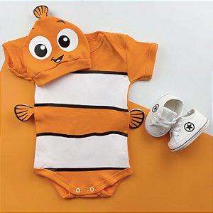 Kit Body Bebê Procurando Nemo com Touquinha e Tênis Branco