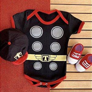 Kit Body Bebê Thor com Boina e Tênis Basic Vermelho