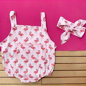 Romper Bebê Menina Flamingos com Turbante