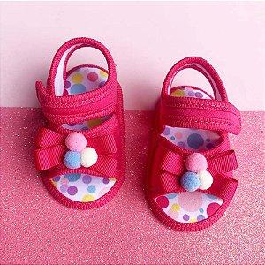 Sandalia Bebê Pompom Rosa Pink