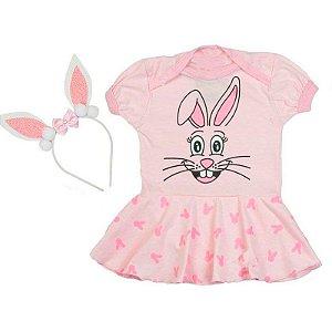 Kit Body Vestido Bebê Coelhinha da Páscoa com Tiara Orelhinhas